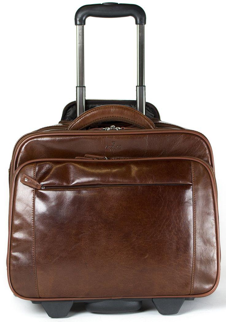 S Babila Genuine Leather Laptop Cabin Size Trolley Briefcase Overnight Flight Travel Bag (Cognac): Amazon.co.uk: Luggage £234.99