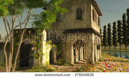 3D computer graphics of a fantasy Tuscany landscape with a romantic tavern