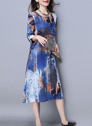 Cotton Floral 1029750/1029750 Sleeves Mid-Calf Elegant Dresses (1029750) @ floryday.com