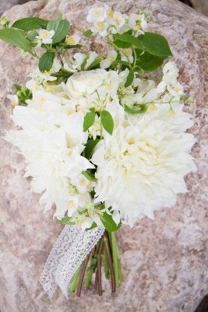 White dahlia bouquet with greenery and lace