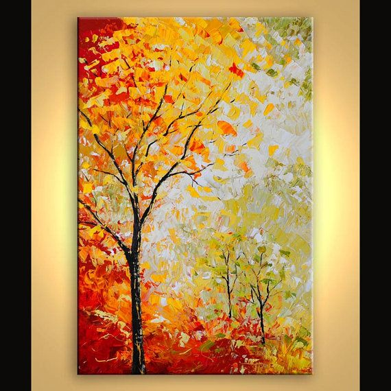 Art Ideas With Leaves: Original Autumn Trees Landscape Painting By