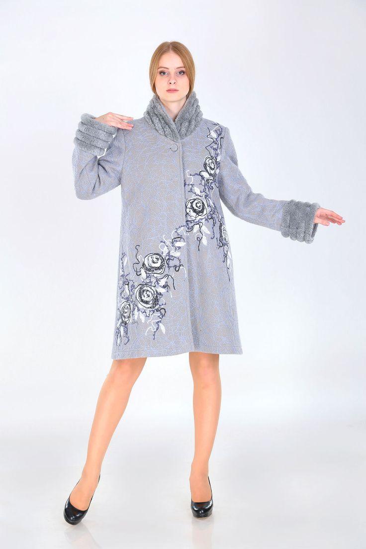 Купить Полупальто зимнее ППЗ 06 - серый, цветочный, полупальто, женское пальто, модное пальто