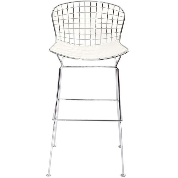 Buy Bertoia Style Wire Bar Stool In Silver Frame White At Contemporary Furniture Warehouse For Only 154 80