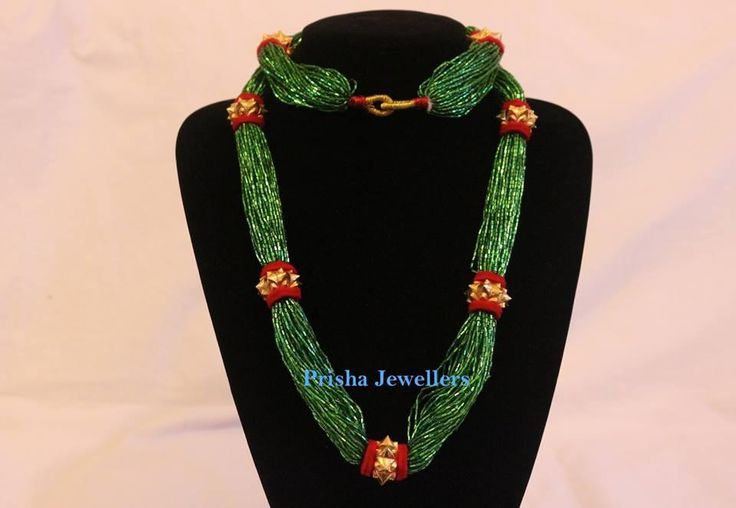 24 Carat Traditional Naugedi Mala in adorable green potey ...