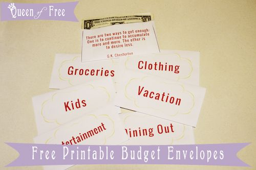 Print FREE Cash Envelopes, Budget Forms, Meal Planners, and more to Keep Your Budget on Track from @thequeenoffree