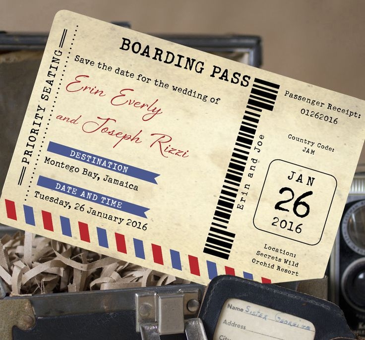 Air Mail Boarding Pass Postcard Save the Date (Jamaica)
