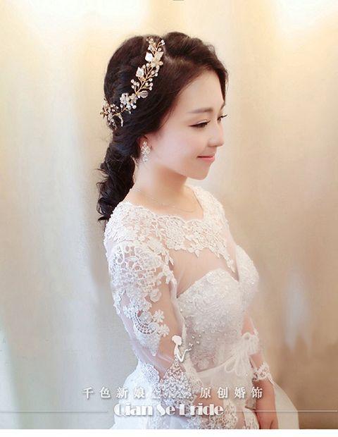 2015 Elegant Crystal Headband Gold Leaf Bride Tiara Forehead Frontlet Sparking Wedding Jewelry Bridal Accessories muning