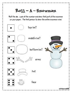 Roll a Snowman! - use giant dice for gross motor skills & pencil / scissor skills for drawing the snowman / cutting out the pieces