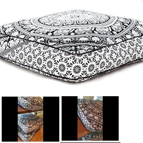 Dog Bed Large Throw Pillow Outdoor Cushion Cover Elephant Mandala Indian Pillow #HandicraftPalace