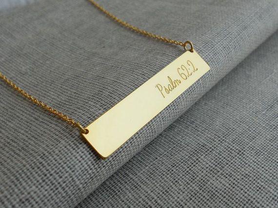 Bible Verse Necklace,Bible Verse Bar Necklace,Engraved Bible Verse Jewelry,Faith Bar Necklace,Custom Scripture Necklace,Psalm 62:2