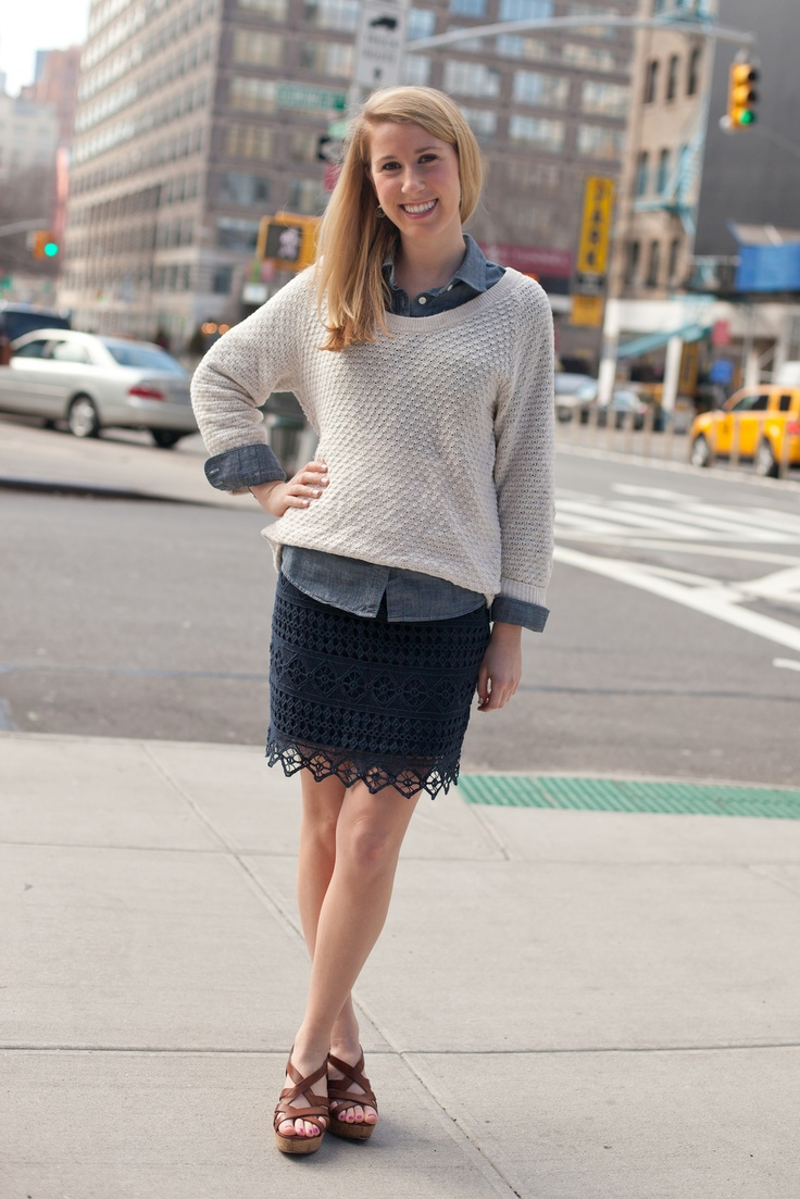 Kristin streetstyle fashion chicago sweater denim spring