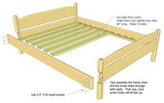 Or king size mattress no need for box springs with this platform bed Dimensions fit a standard Queen Mattress 60 x 80 Bill of materials