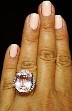 Platinum огромный 20,5 карат овальный сиреневый розовый кунцит бриллиант коктейльное ажурное кольцо