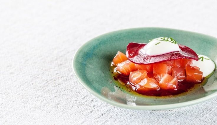 Gin Cured Salmon with Horseradish Yoghurt. Nathan Outlaw recipe