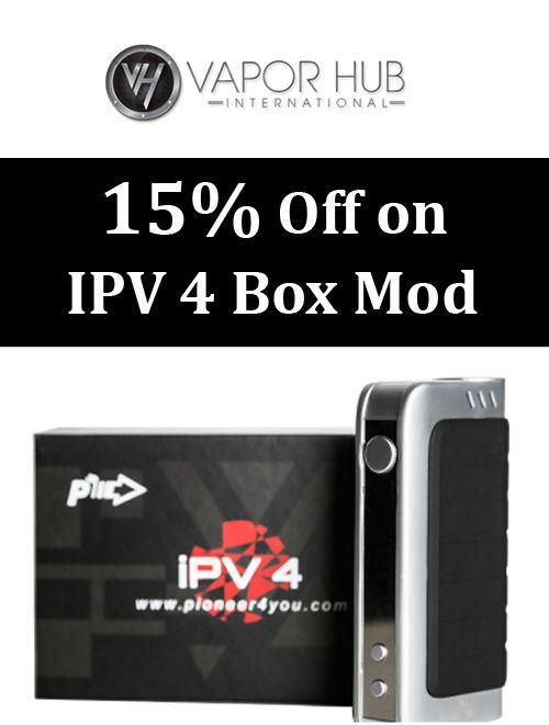 15% discount on IPV 4 Box Mod at Vista Vapor. Grab up now and enjoy the savings. For more Vapor Hub Coupon Codes visit: http://www.couponcutcode.com/coupons/get-15-off-on-ipv-4-box-mod/