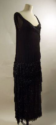Chanel - Beaded Black Evening Dress by Coco Chanel, 1923