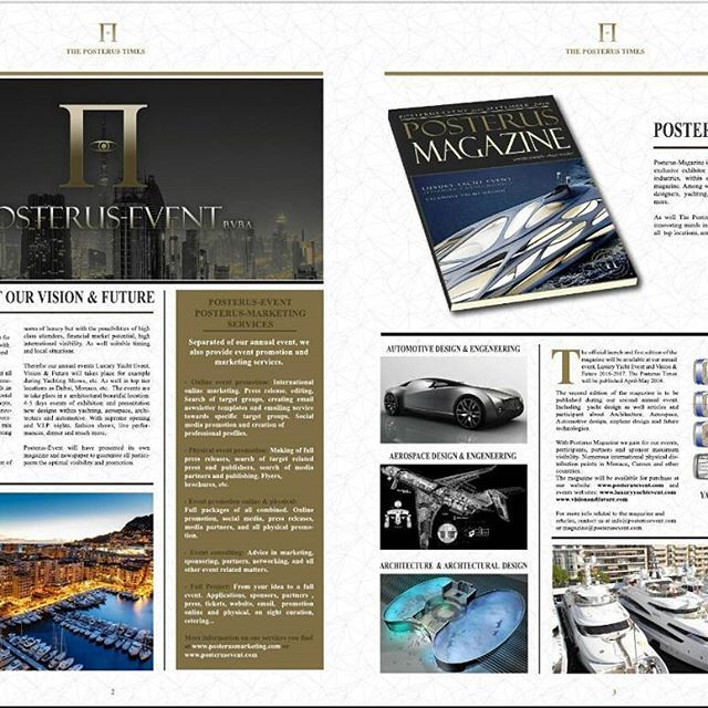 Posterus-Event, Luxury Yacht Event, Vision & Future and Posterus-Marketing invites Yachting industries/yacht designers, aerospace designers/industries/engineers architects, automotive industries/engineers/designers to submit for the first edition of The Posterus Times. More information and submission, http://posterusevent.com/newspaper.html (Submission deadline 15 April)  #yacht #yachts #yachting #yachtlife #superyacht #superyachts #megayacht #megayachts #motoryacht #aerospace #engineering…