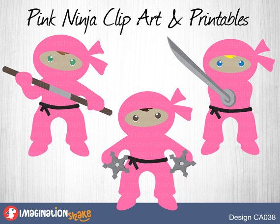 Pink Ninja Clip Art & Printables Set CA038 / Clipart / Ninja Wall Decorations / Ninja Printables / Ninja Party Decor / Birthday Ninjas Girls - pinned by pin4etsy.com