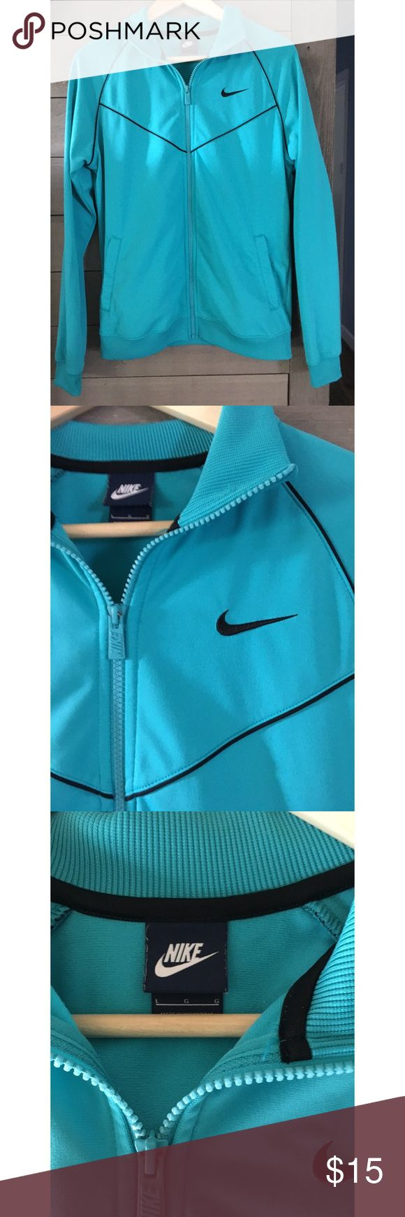 "Blue Nike Zip Up. Size Large Blue Nike Zip Up. Size Large. Excellent Condition. Armpit To Armpit 21"". Length 26 1/2. Offers Welcomed. No Trades. Smoke Free Home. Bundle Bundle Bundle For Savings!!! Nike Jackets & Coats"