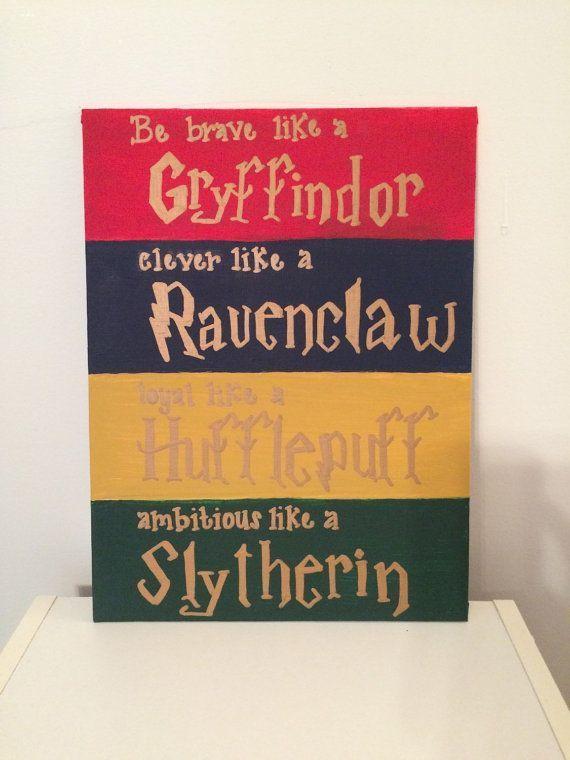 Harry Potter Hogwarts House Traits Canvas Harrypotter Diycrafts Harrypotterquotes Harry Potter Nursery Harry Potter Crafts Harry Potter Hogwarts Houses