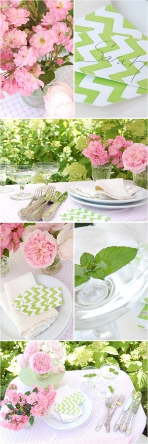 Pink and Green! by tammie     Pink and green table setting.
