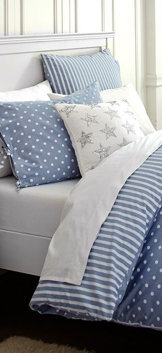Bedding - the Blue and White Stripes and Polka Dots are just so fresh and inviting