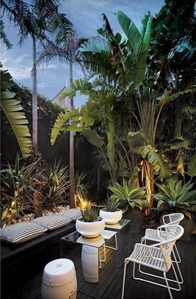 Outdoor Living - Love the tropical landscaping, but I would have to add more comfy seating