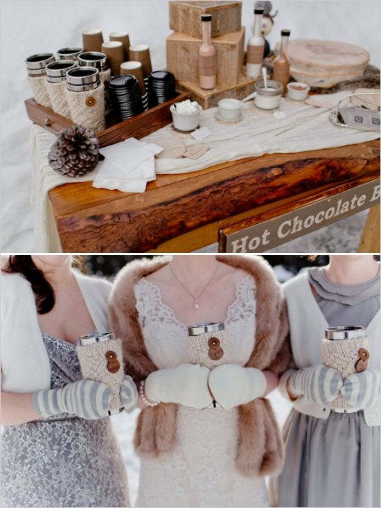 Winter Hot chocolate coffee bar   wedding by Naturally Chic   Photo by Julie Williams Photography. #emeraldlakewedding #winterwedding