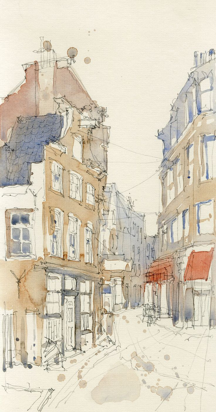 Watercolour Sketch of Amsterdam Street in Canal District, December 2014. Watercolour & Pencil on board. www.nickhirst.co.uk