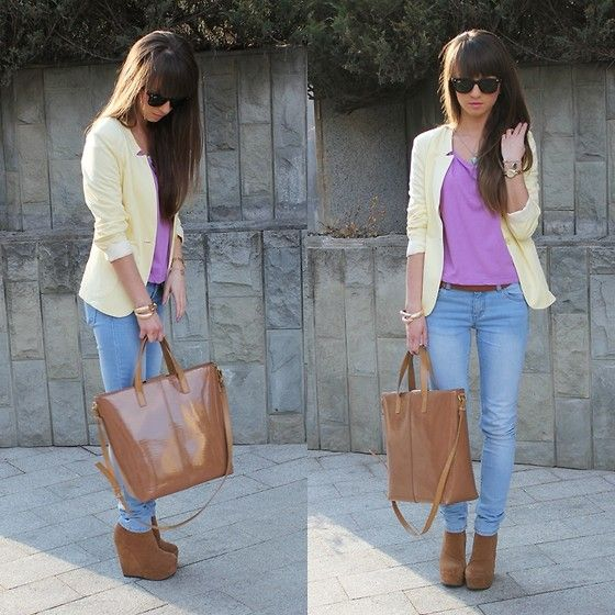 yellow jacket over purple??? it looks good.: Pastel, Jaime Closet, Dreams Closet, Fab Fashion, Style Inspiration, Fashion Inspiration, Yellow Jackets, Colors Blocks, Jackets Ensembl