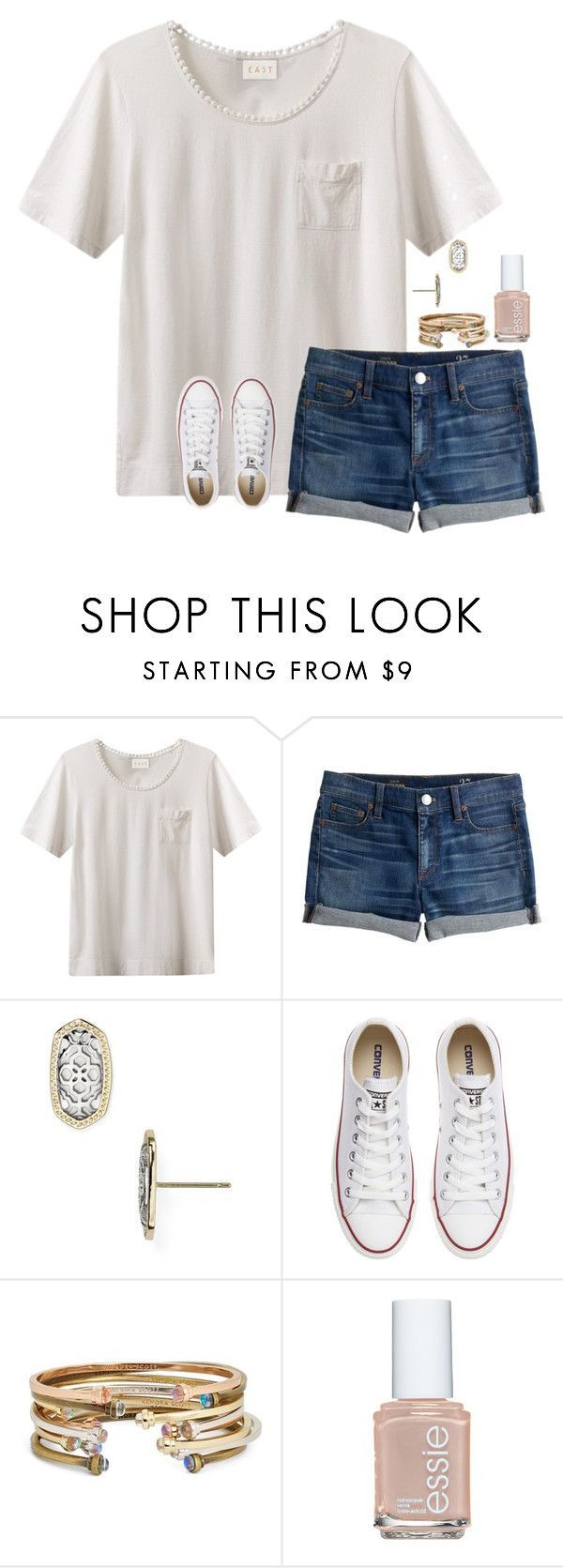 """day 2: last day of school"" by jazmintorres1 ❤ liked on Polyvore featuring EAST, J.Crew, Kendra Scott, Converse, Essie and schoolsoutmadiandashe"