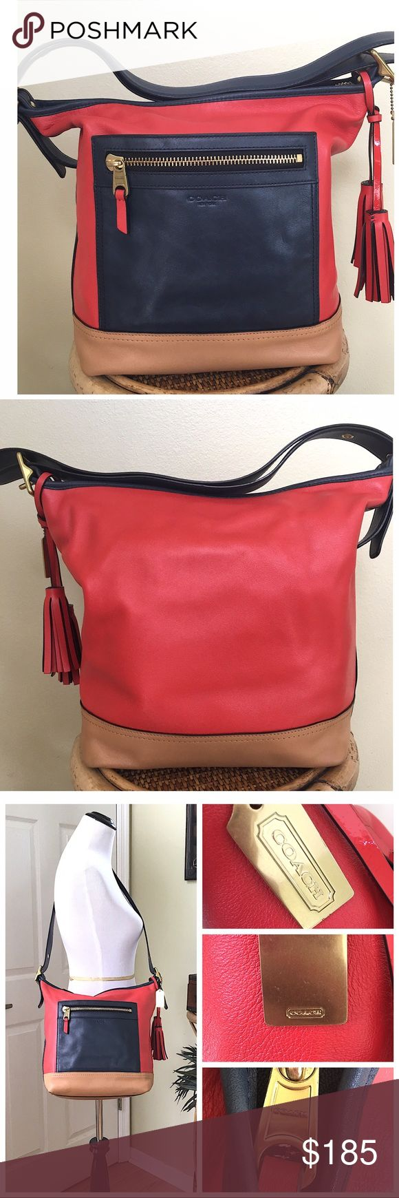 "COACH LEGACY COLORBLOCK DUFFLE BAG Gorgeous bag.  Gently used.  Minor wear to the corners and one small ink mark on the side exterior leather (see pics) Clean interior and exterior.  This bag can be worn as a shoulder bag or crossbody.                                           ·  Single strap with 18.75"" drop for crossbody wear converts to double strap for shoulder wear  ·  Interior zip pocket and cellphone pockets ·  One outside zip pocket and slip pocket ·  Top zipper closure ⏩ALL…"