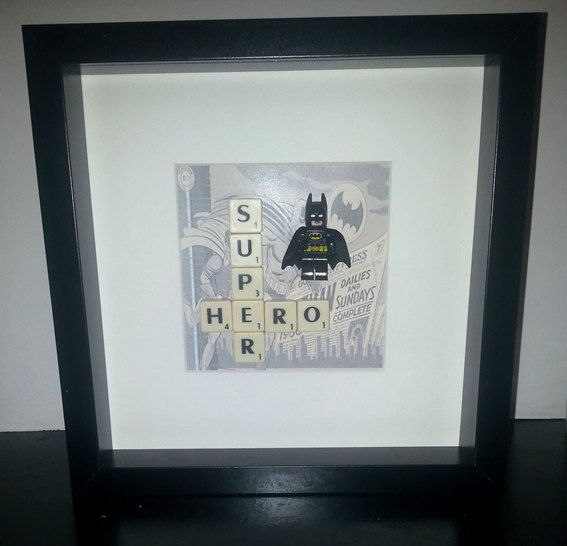 Lego Superhero picture frame fathers day gift by MoseleyDesigns