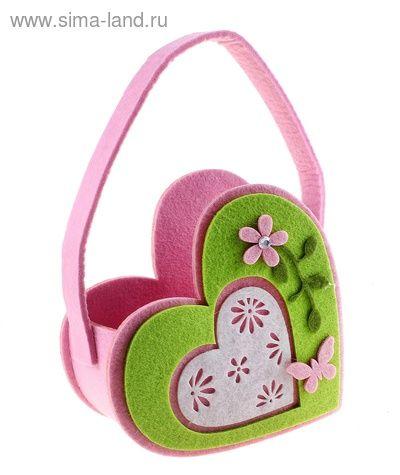 Корзиночка для мелочей войлок Три сердца 17,5*8*17 см, купить оптом.