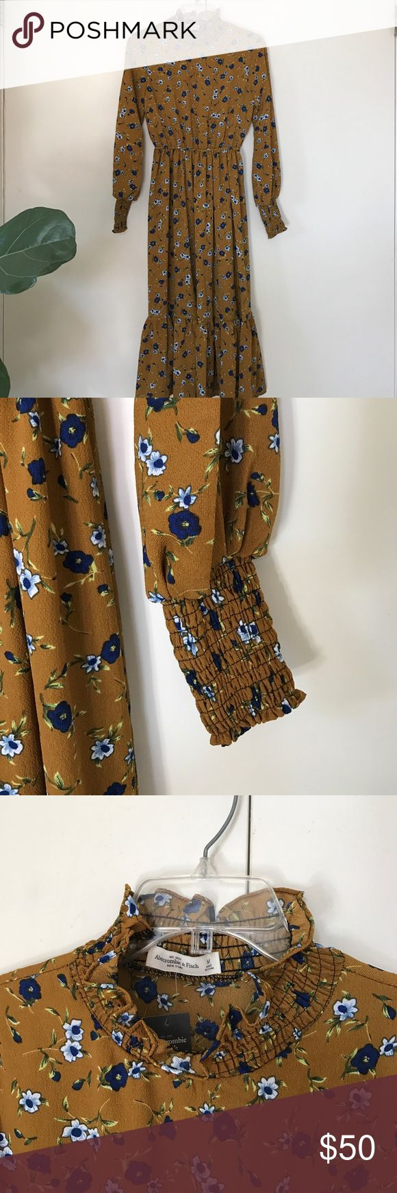 Abercrombie & Fitch Floral dress Classic Mustard color Dress with Blue and white flowers. Abercrombie & Fitch Dresses Long Sleeve