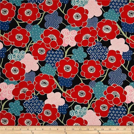 Kiki Ume black Alexander Henry tela de patchwork tela de algodón tela de vestido tela japonesa tela de kimono flores de cerezo sakura cherri
