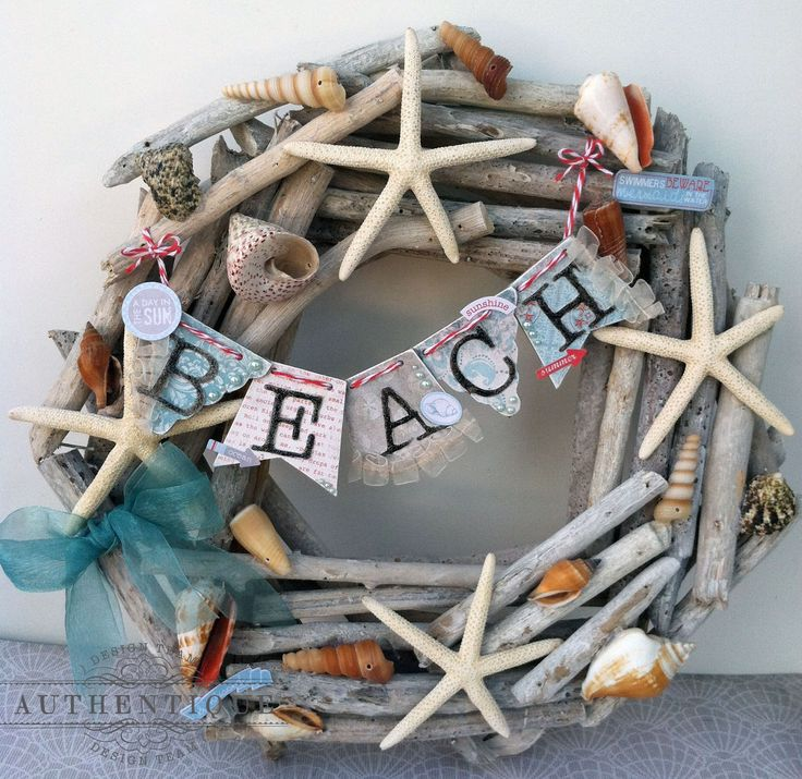"""Just Beachy"" seashell wreath by Authentique Paper Design Team Member Emily Lanham"