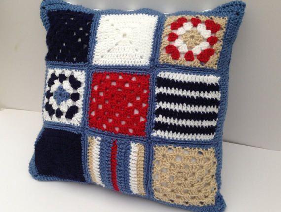 Nautical Cushion Cover by Jayneanncrochet on Etsy