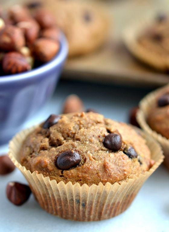 Hazelnut Butter-Chocolate Chip Muffins | Coconut and Berries