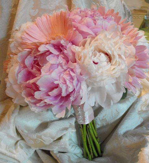 wedding bouquets with pink gerber daisy | Pink Peony and Gerber Daisy Bouquet