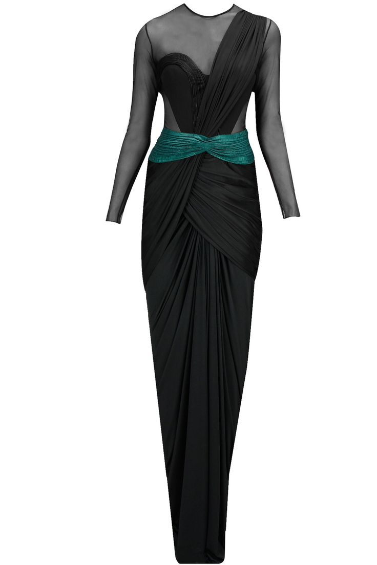 Black faux metal peplum pre draped sari available only at Pernia's Pop-Up Shop.