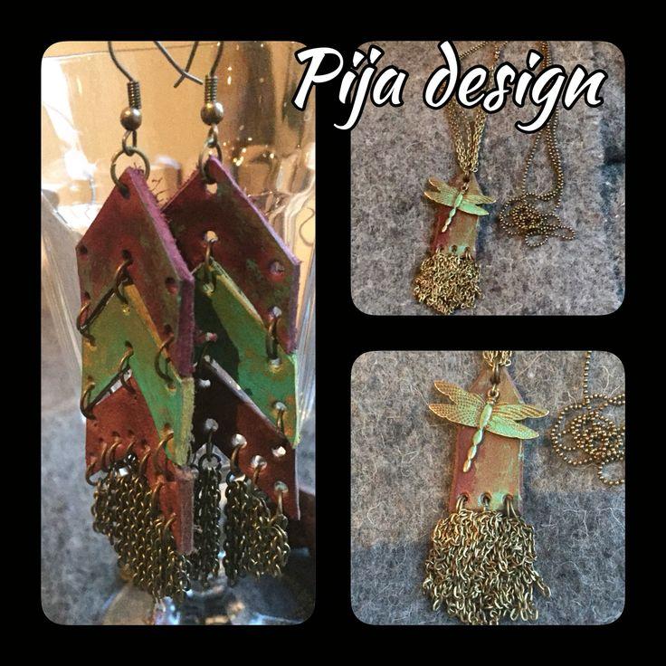 Leather earrings and bracelet Pijadesign