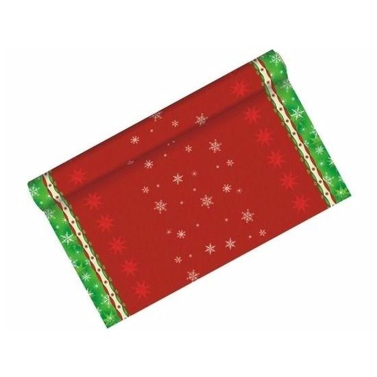 Feestelijke tafelloper kerst sfeer  Tafelloper met sneeuwvlokjes. Feestelijke tafelloper in de kleuren rood en groen met sneeuwvlokjes. De tafelloper is ongeveer 3 meter lang en 40 cm breed. Het materiaal van deze tafelloper is papier met een plastic beschermingslaag.  EUR 6.95  Meer informatie