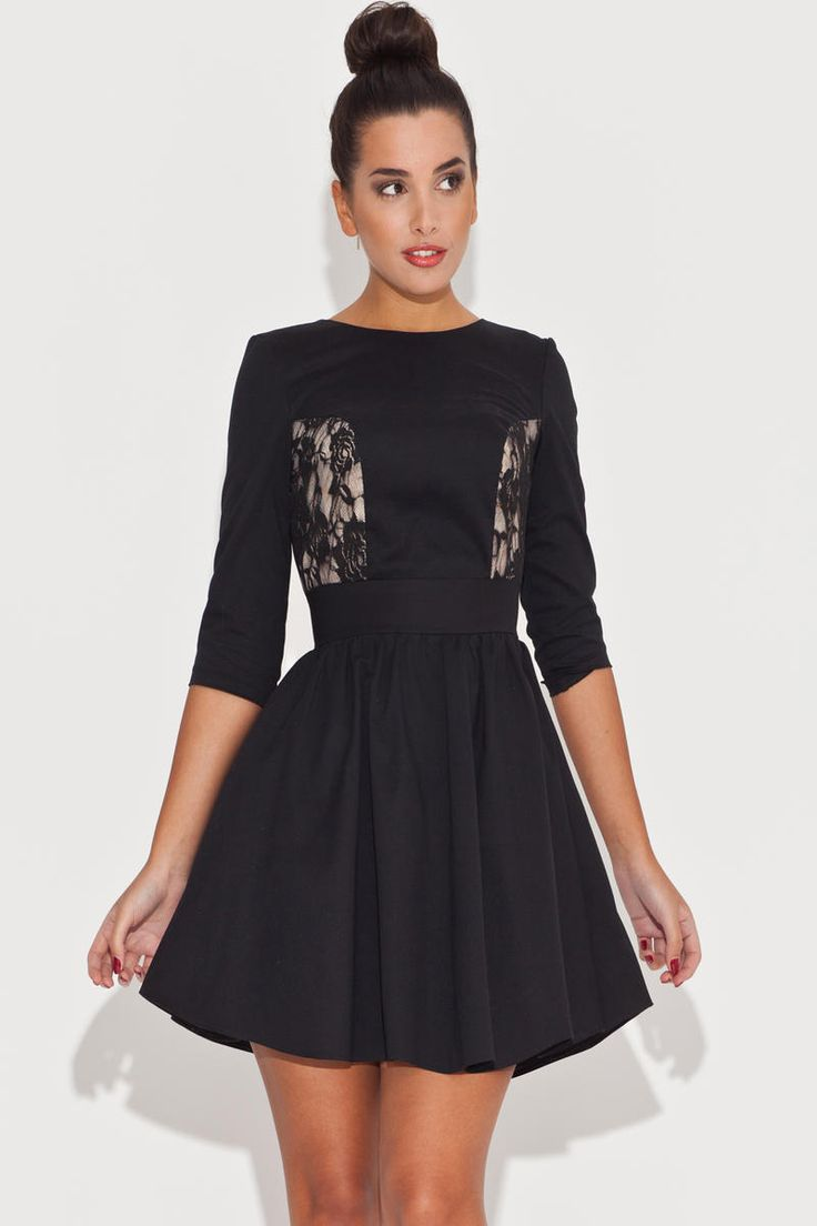 Black Mini Flared Dress With Lace Features