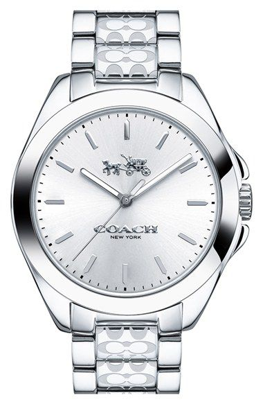 COACH 'Tristen' Logo Etched Bracelet Watch, 36mm available at #Nordstrom