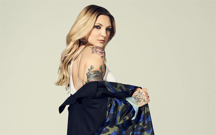 Descargar fondos de pantalla Julia Michaels, cantante Estadounidense, 4k, retrato, rubia, tatuaje, Julia Carin Cavazos