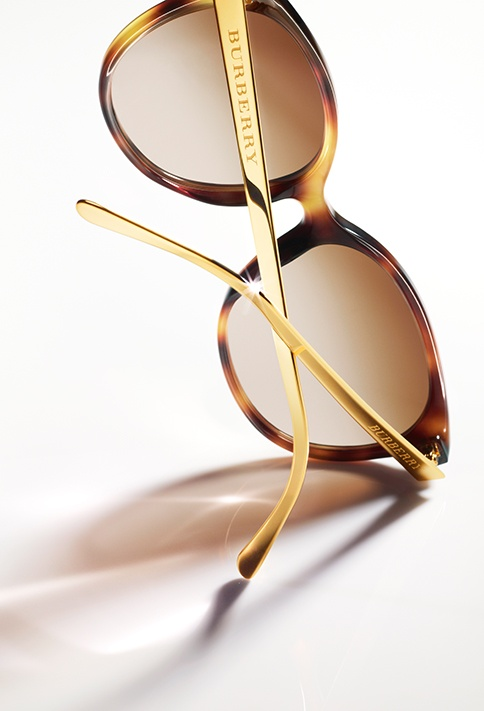Burberry Spark tortoiseshell cat-eye sunglasses with contrast metallic gold arms