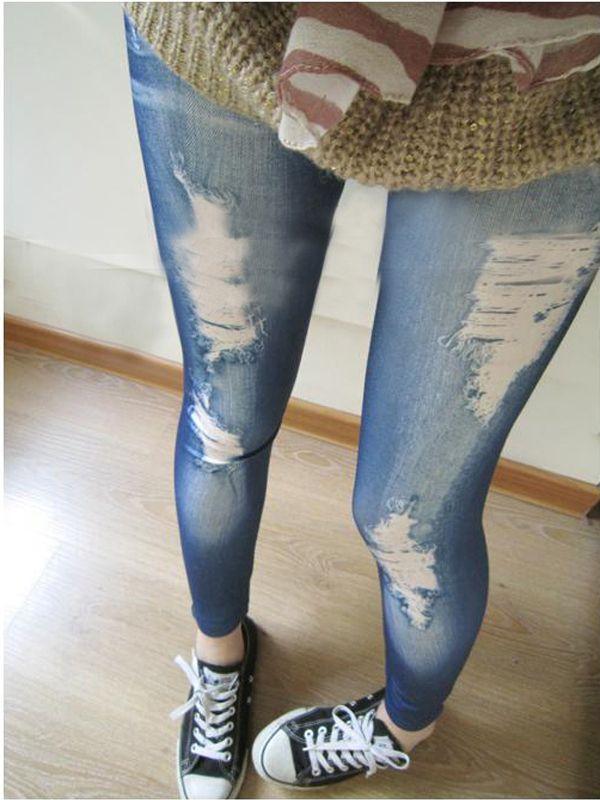 económico, compra directamente de proveedores chinos:   corea del estilo de las mujeres niñas lápiz delgado agujero pantalones jean render legging pantaloneshaga clic para agrandar