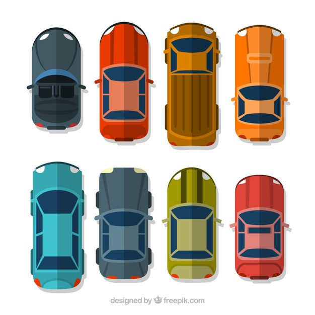 Vector For Free Use Car Top View: Download Top View Of Different Flat Cars For Free
