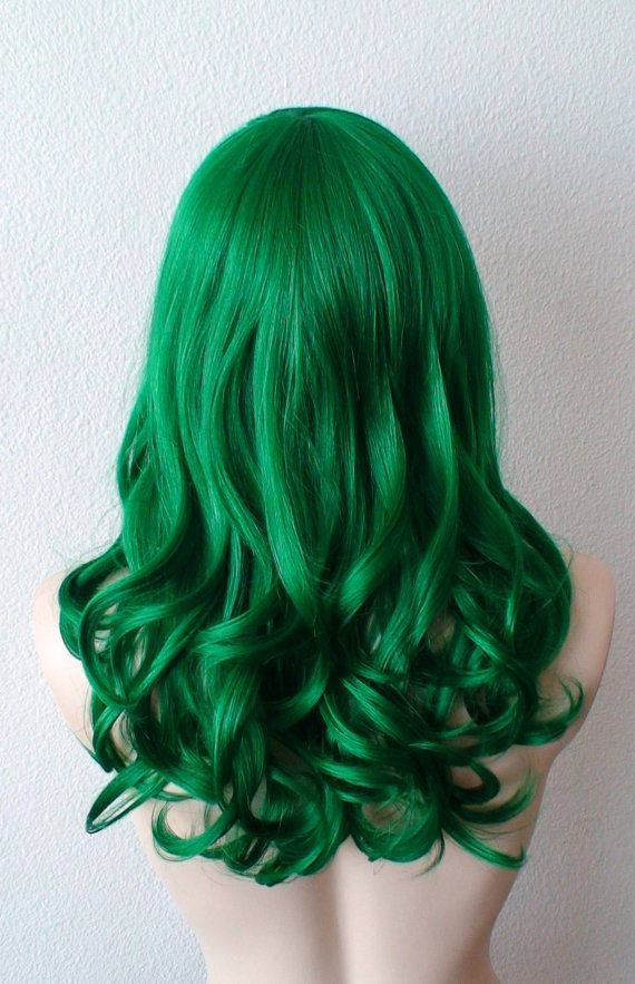 Green wig. Irish green wig. Dark green hair. Emerald by kekeshop